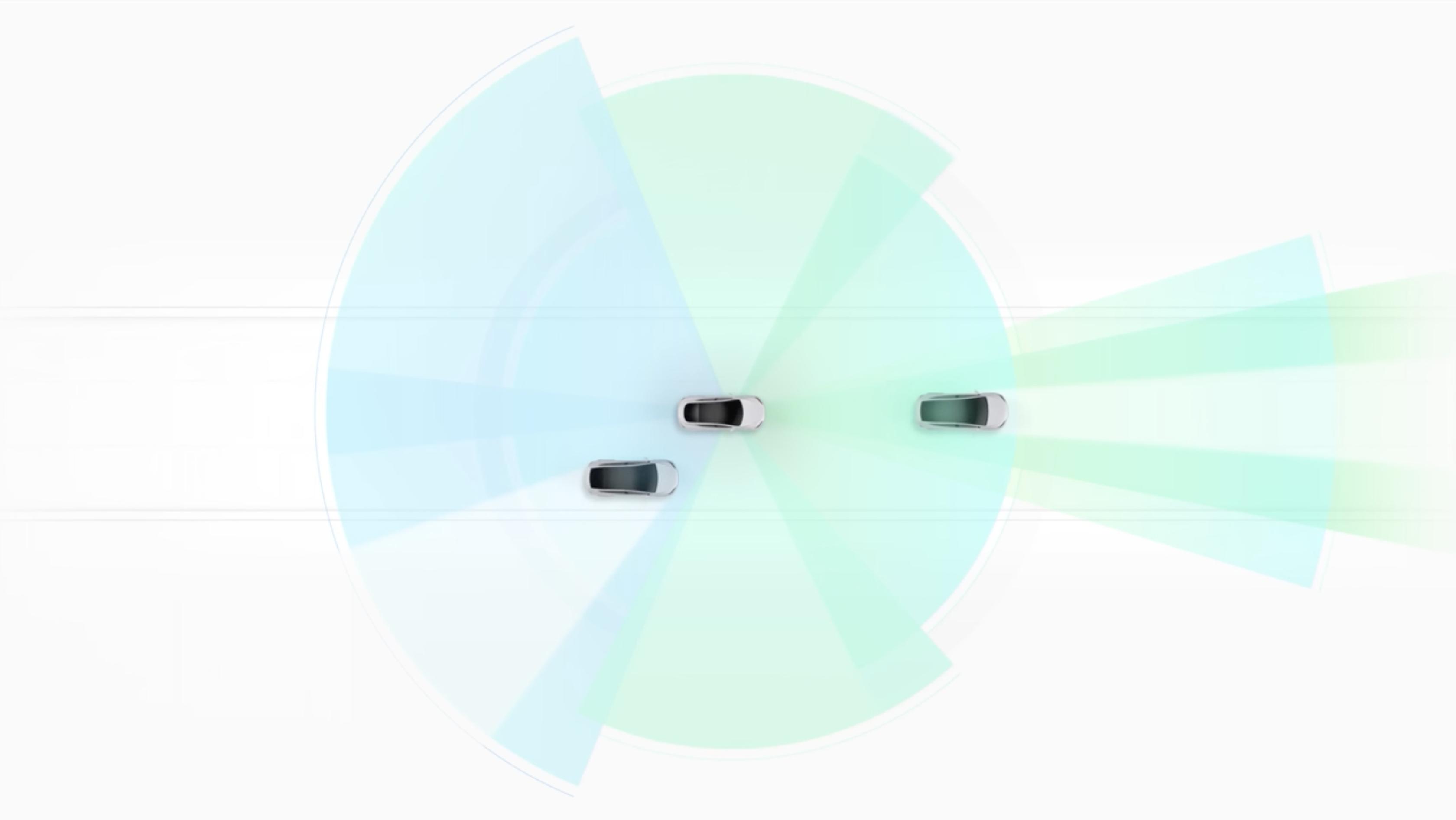 Tesla לבנה עם תיאור Autopilot צבעוני