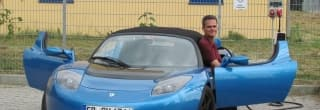 Hansjörg von Gemmingen with his Electric Blue Roadster