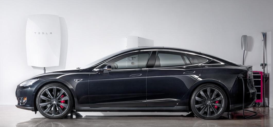 A Tesla Model S and a Tesla Powerwall