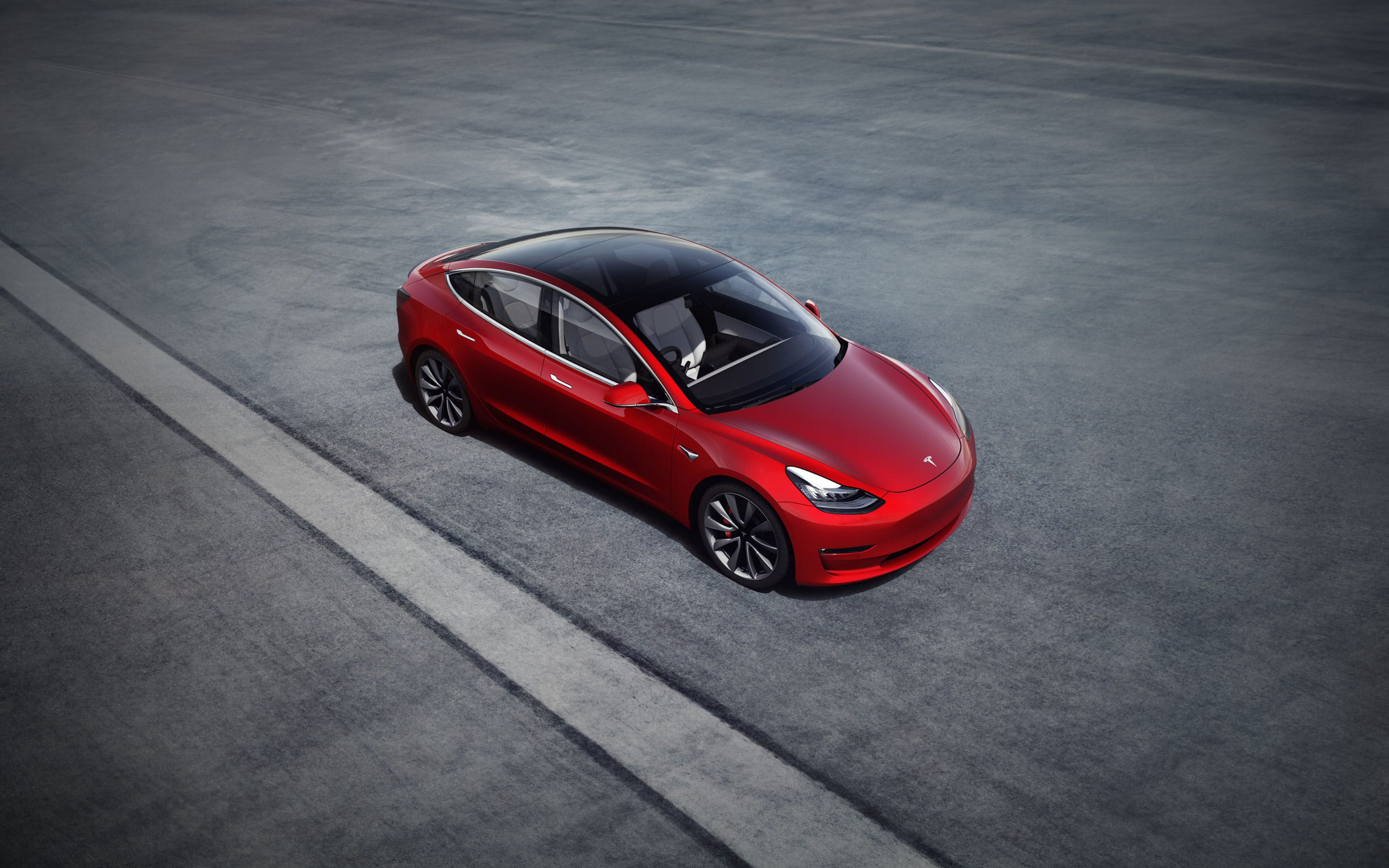 Birds-eye view of red Model 3