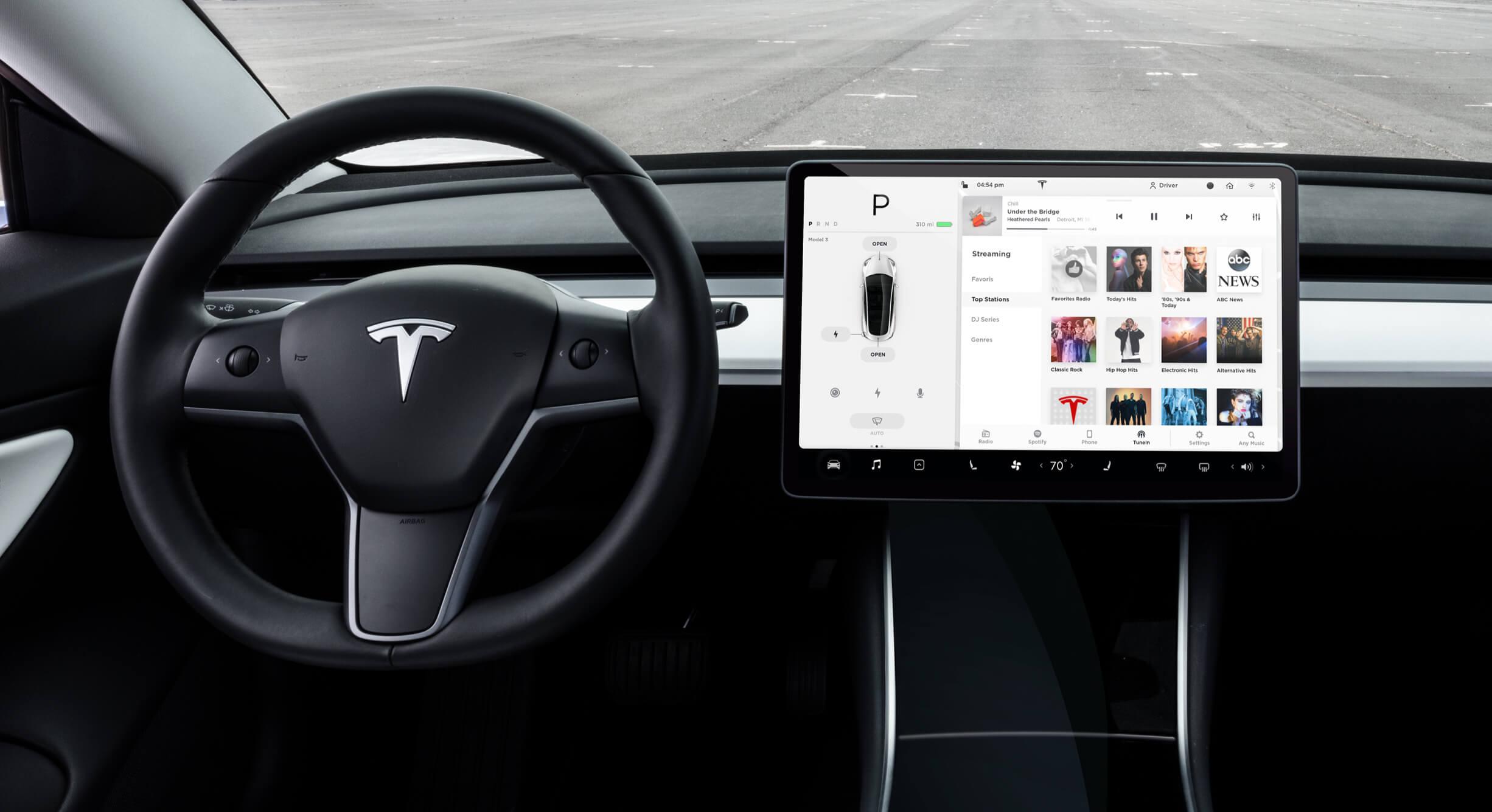 Media screen on Model 3 touchscreen