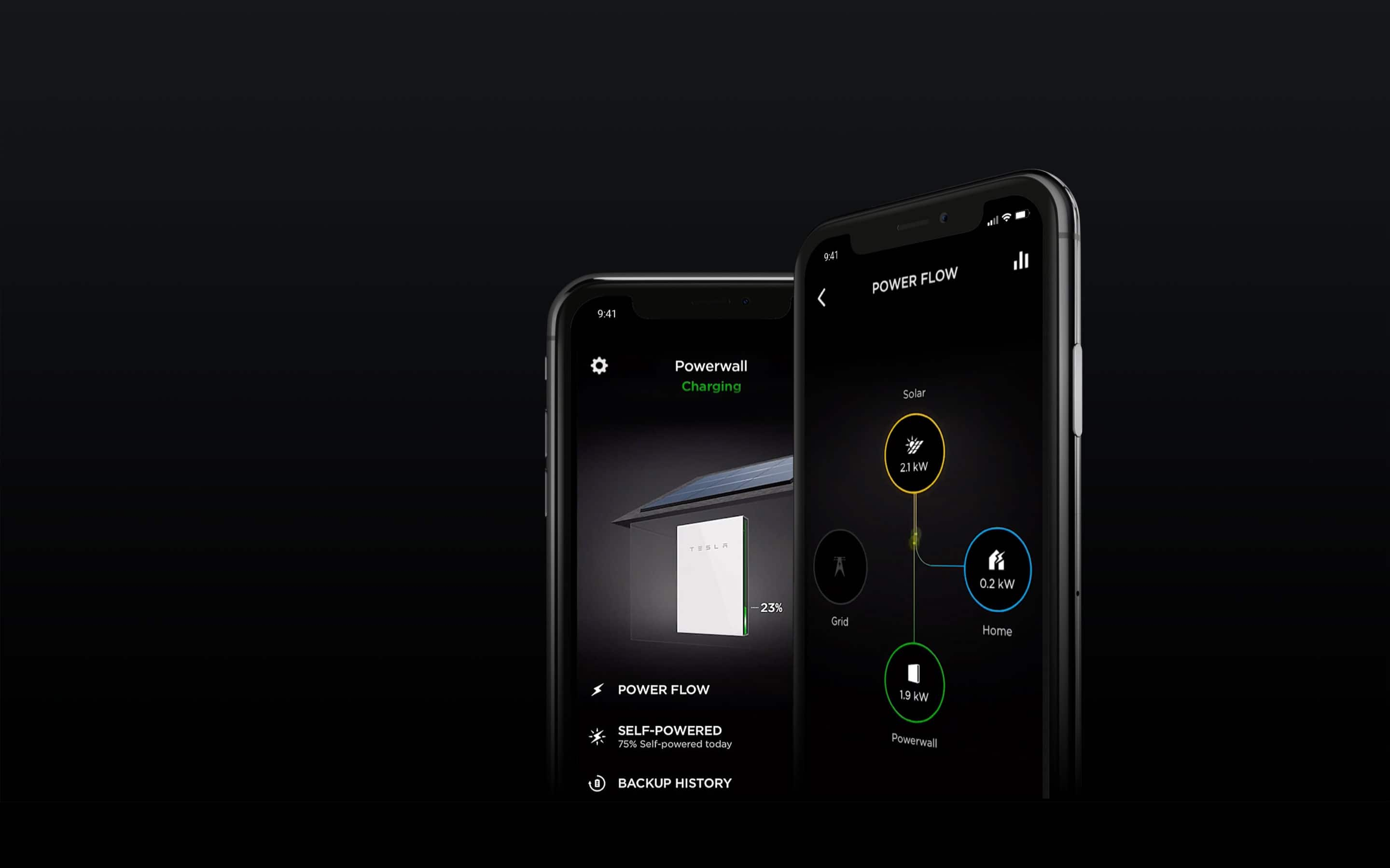 Images de l'application mobile Powerwall