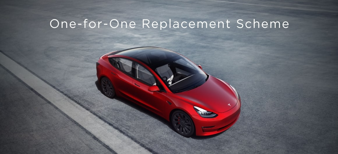 Tesla electric vehicles one-for-one replacement scheme