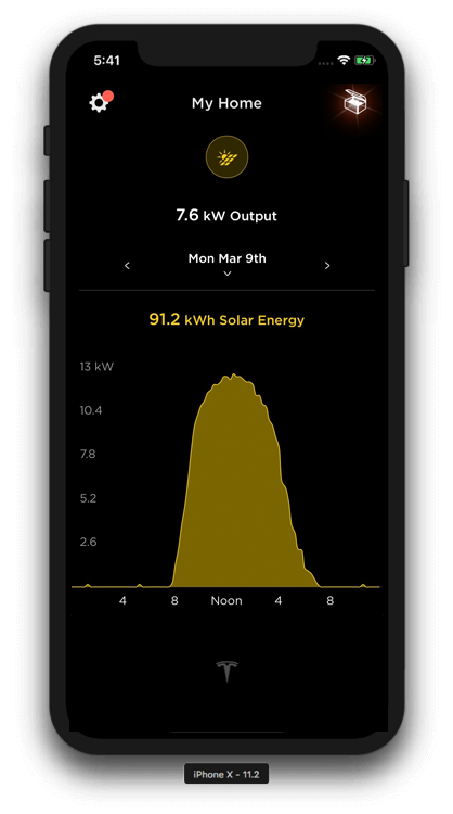Energy Usage screen in the app