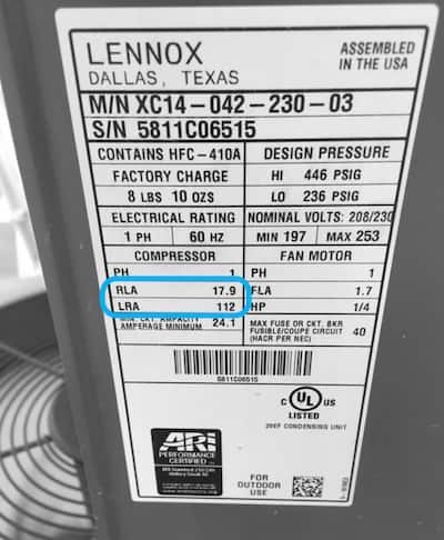AC HVAC label
